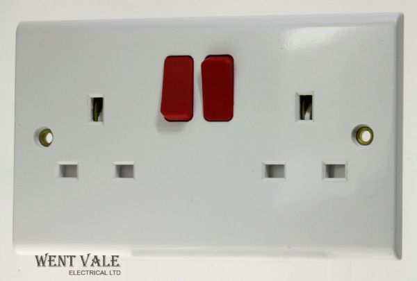 Deta Slimline - S1291  - White 13a Twin Switched Socket With Red Rockers New